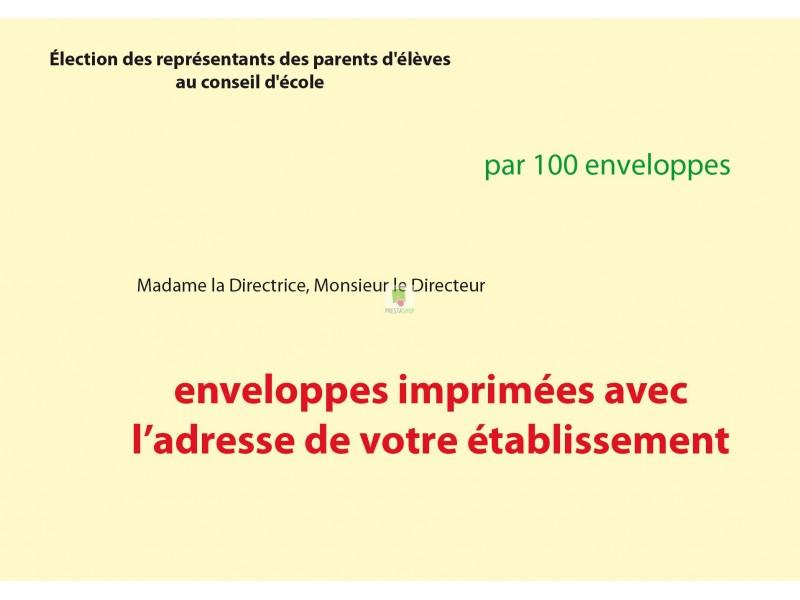 Recto enveloppes d'acheminement et d'identification élection conseil d'école avec adresse établissement couleur jaune