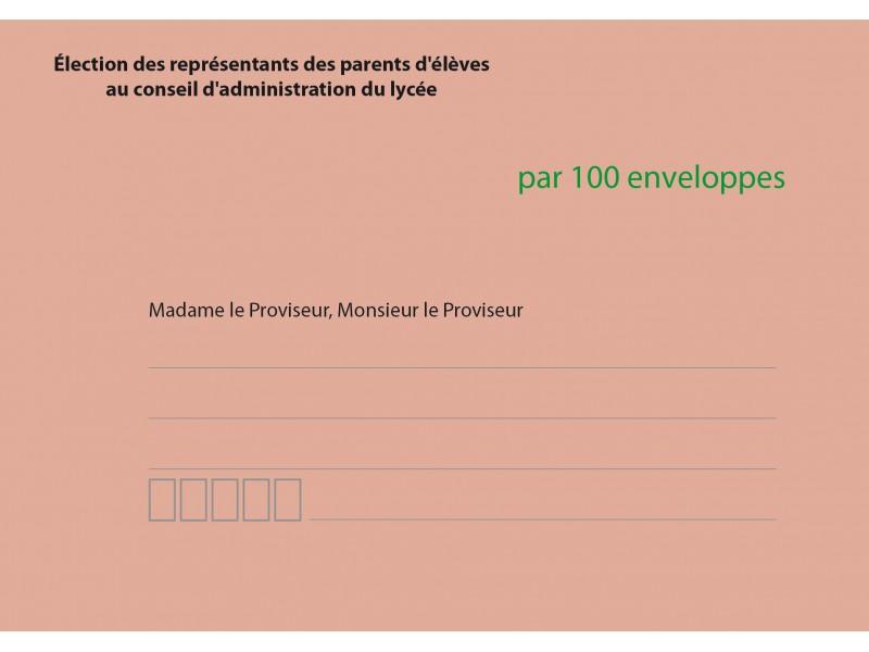 Enveloppes d'acheminement et d'identification élection conseil d'administration du lycée recto verso
