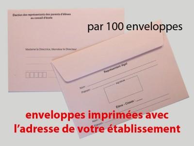 Enveloppes d'acheminement et d'identification élection conseil d'école avec adresse établissement recto verso