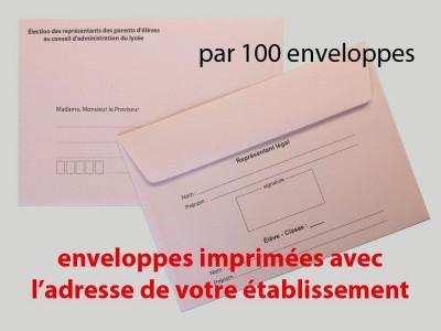 Enveloppes d'acheminement et d'identification élection au conseil d'administration du lycée avec adresse établissement